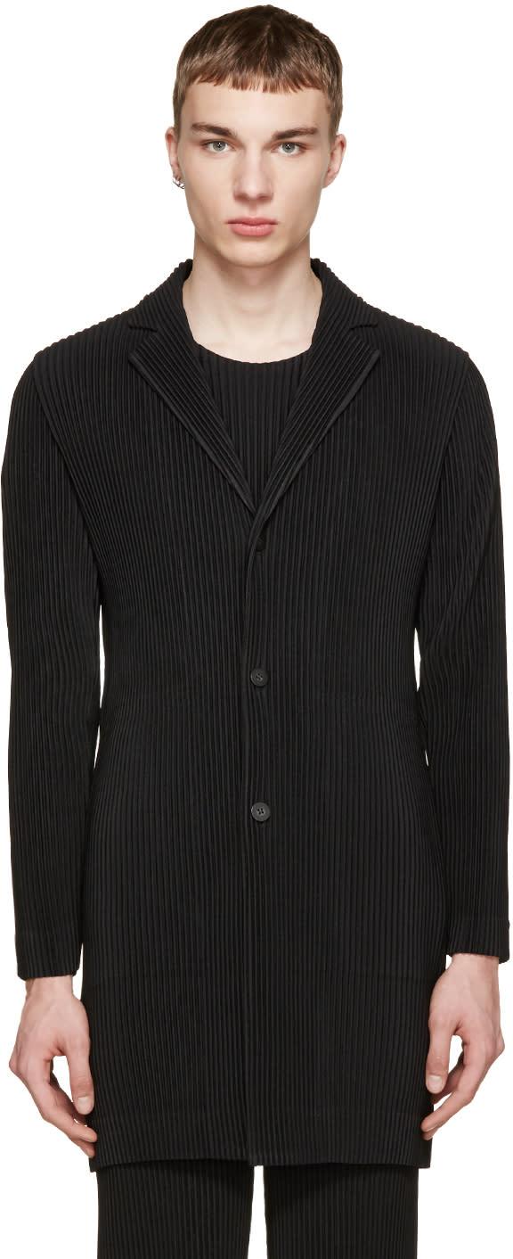 Homme Plisse Issey Miyake Black Pleated Long Blazer