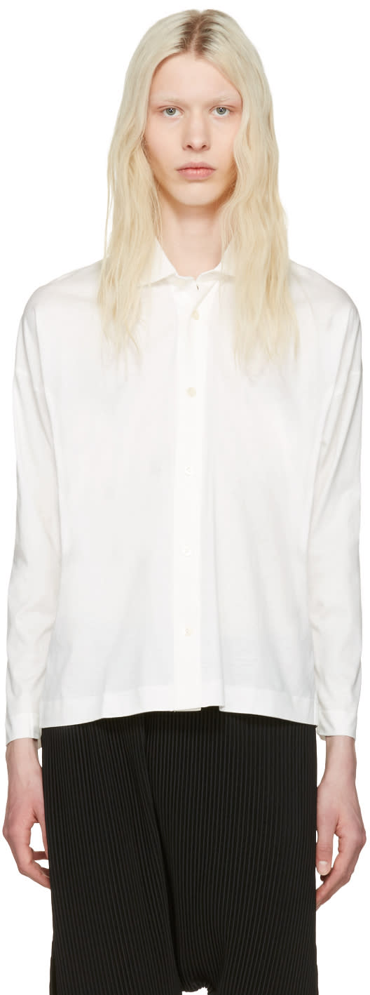 Homme Plissé Issey Miyake White Cotton Shirt