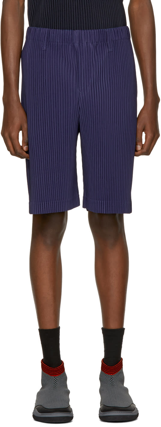 Homme Plissé Issey Miyake Blue Pleated Shorts