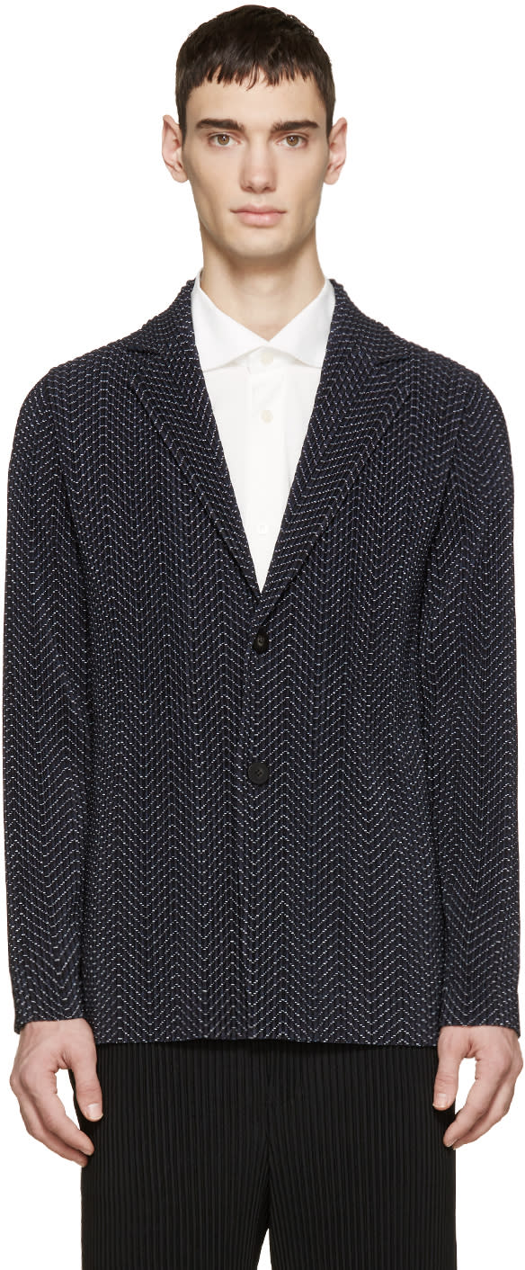Homme Plissé Issey Miyake Navy Pleated and Printed Blazer