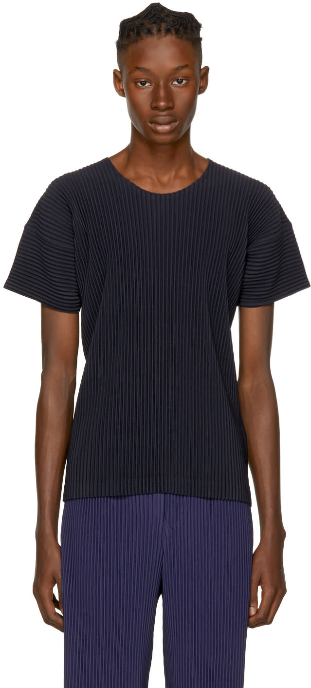 Homme Plissé Issey Miyake Navy Pleated T-shirt