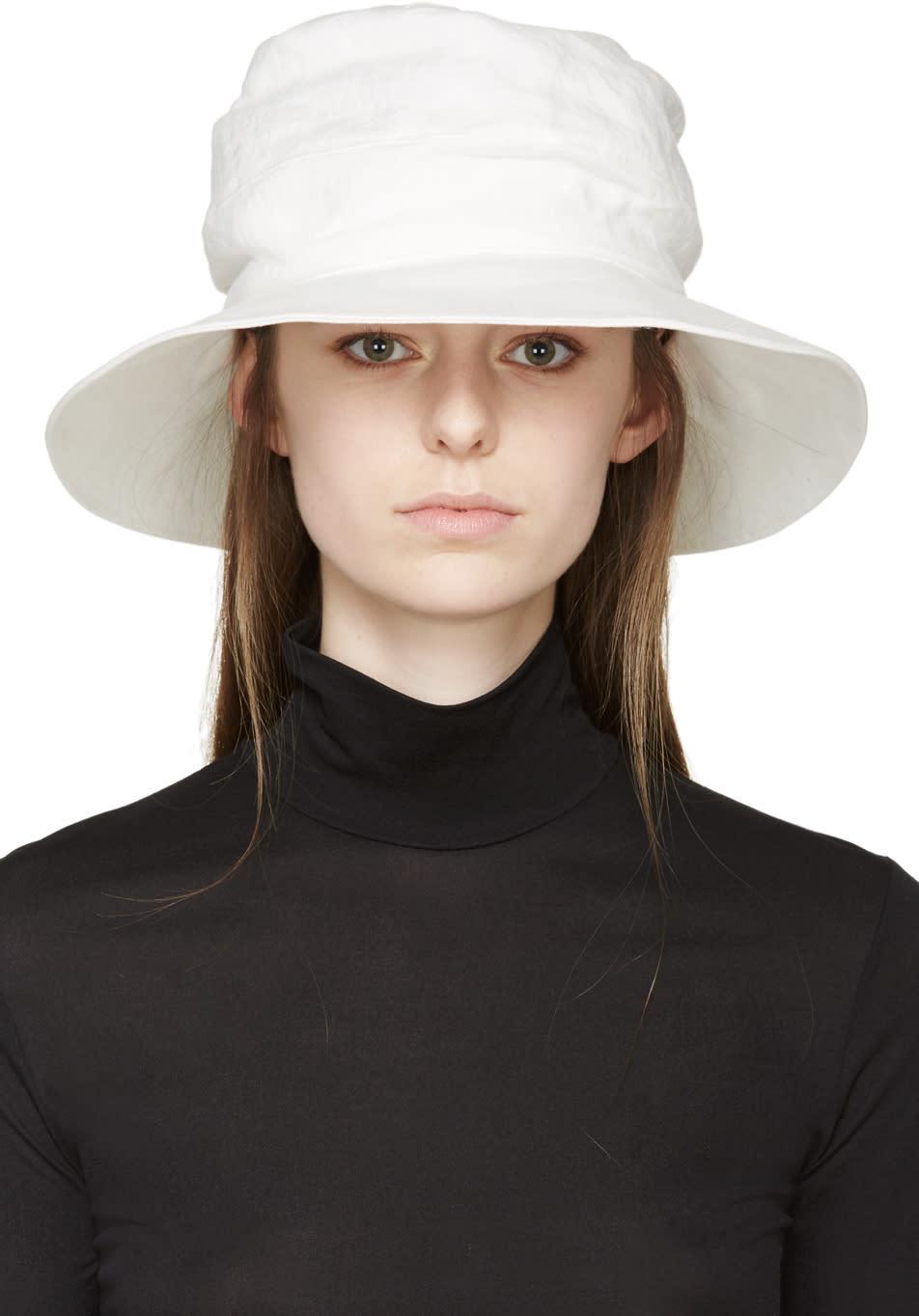 Ys White Linen Sun Hat