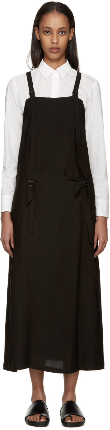 Ys Black Gabardine Apron Dress