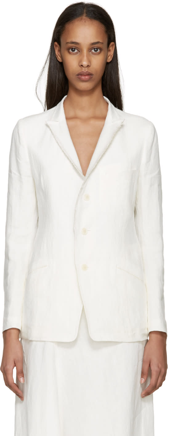 Ys Off-white Linen Blazer