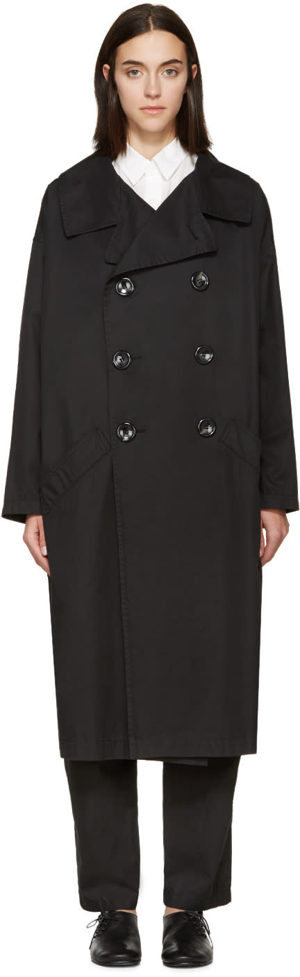 Ys Black Oversized Trench Coat