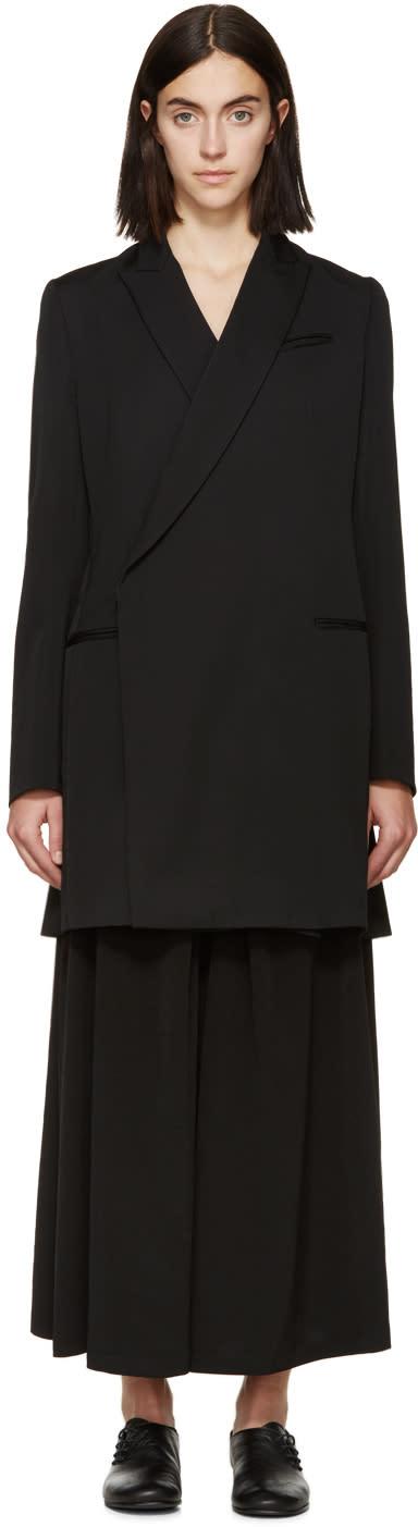 Ys Black Wool Gabardine Blazer