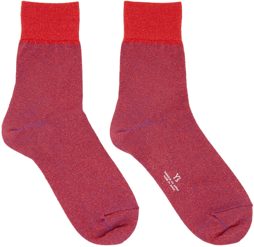 Ys Red Metallic Socks