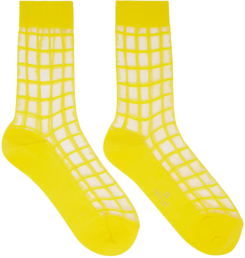Ys Yellow Sheer Check Socks