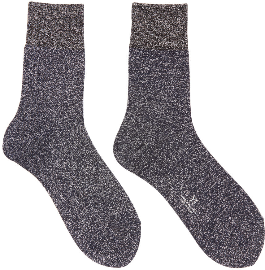 Ys Silver Metallic Socks