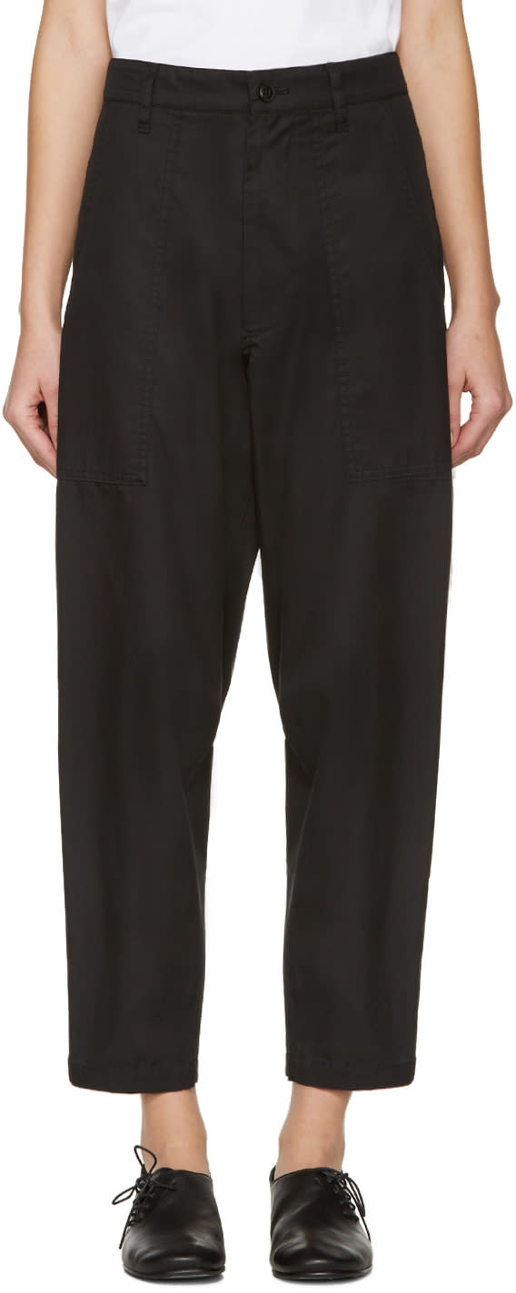 Ys Black Wide Tuck Trousers