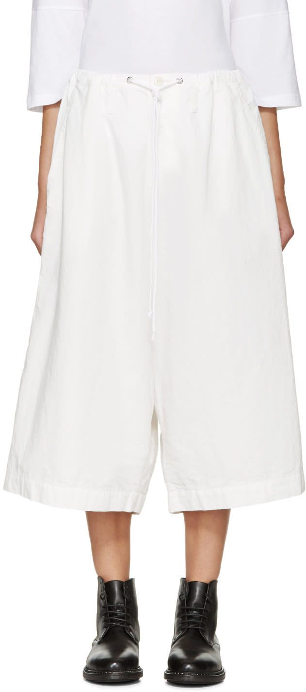 Ys White Drawstring Trousers