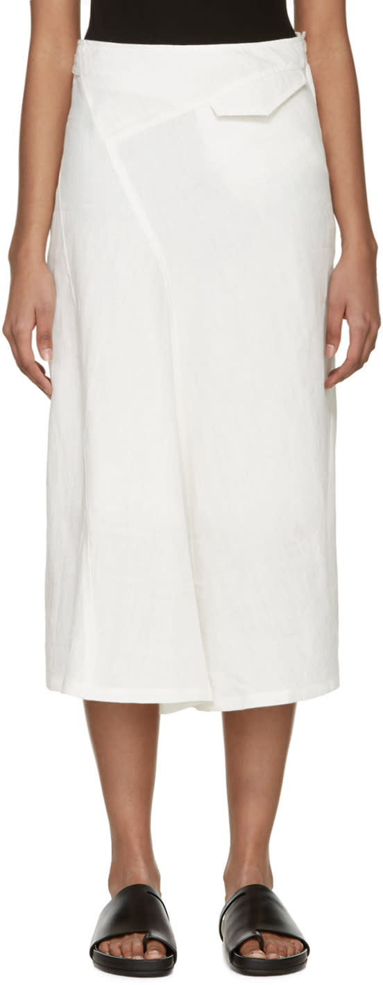 Ys Off-white Linen Panelled Oblique Skirt