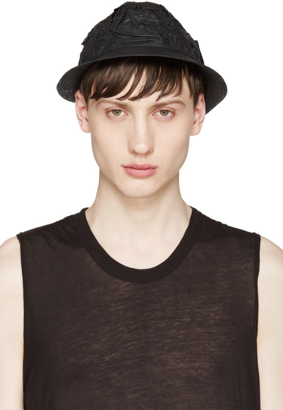 Isabel Benenato Black Crinkled Bucket Hat
