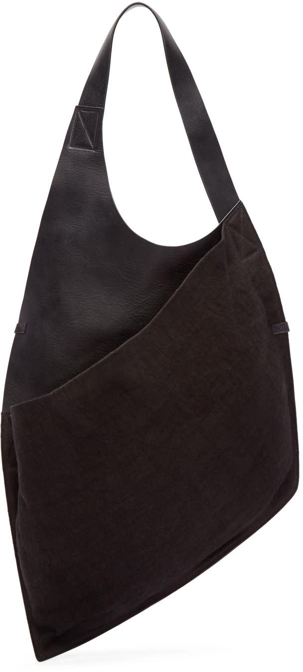 Isabel Benenato Black Leather and Linen Side Bag