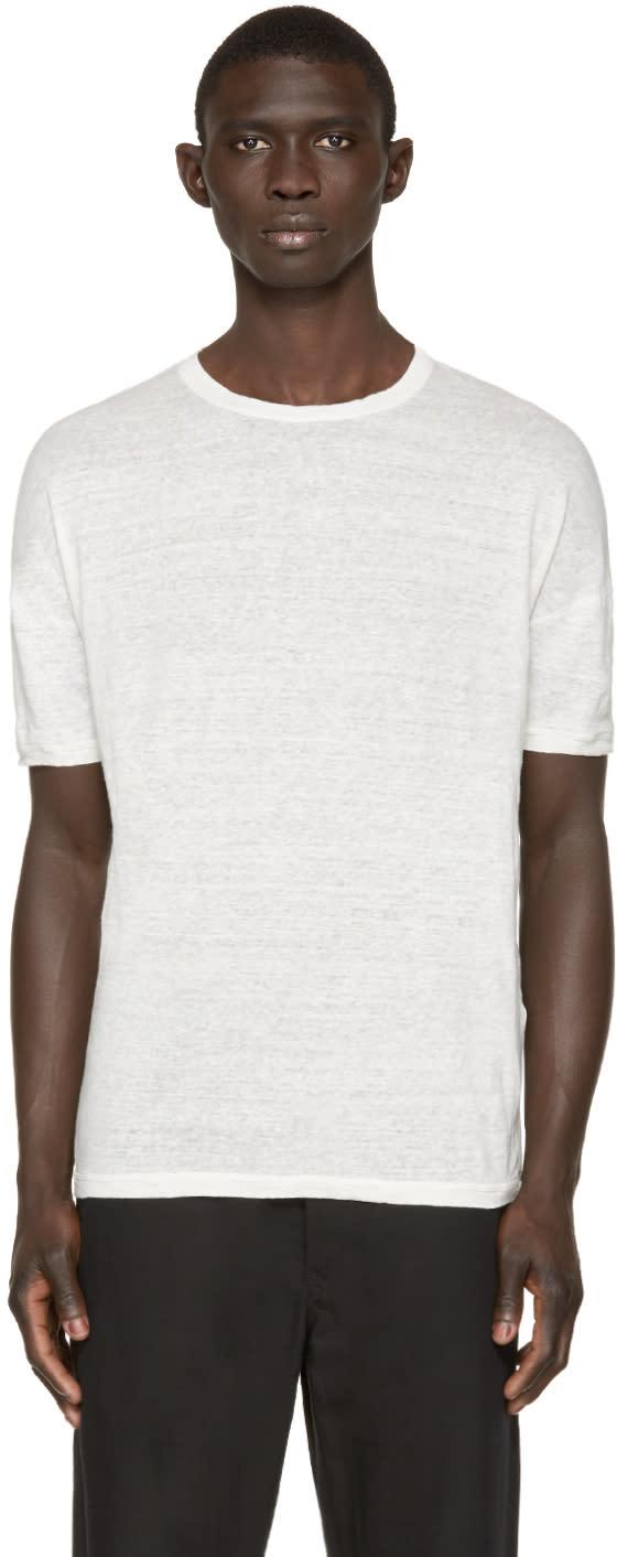 Isabel Benenato Off-white Linen T-shirt