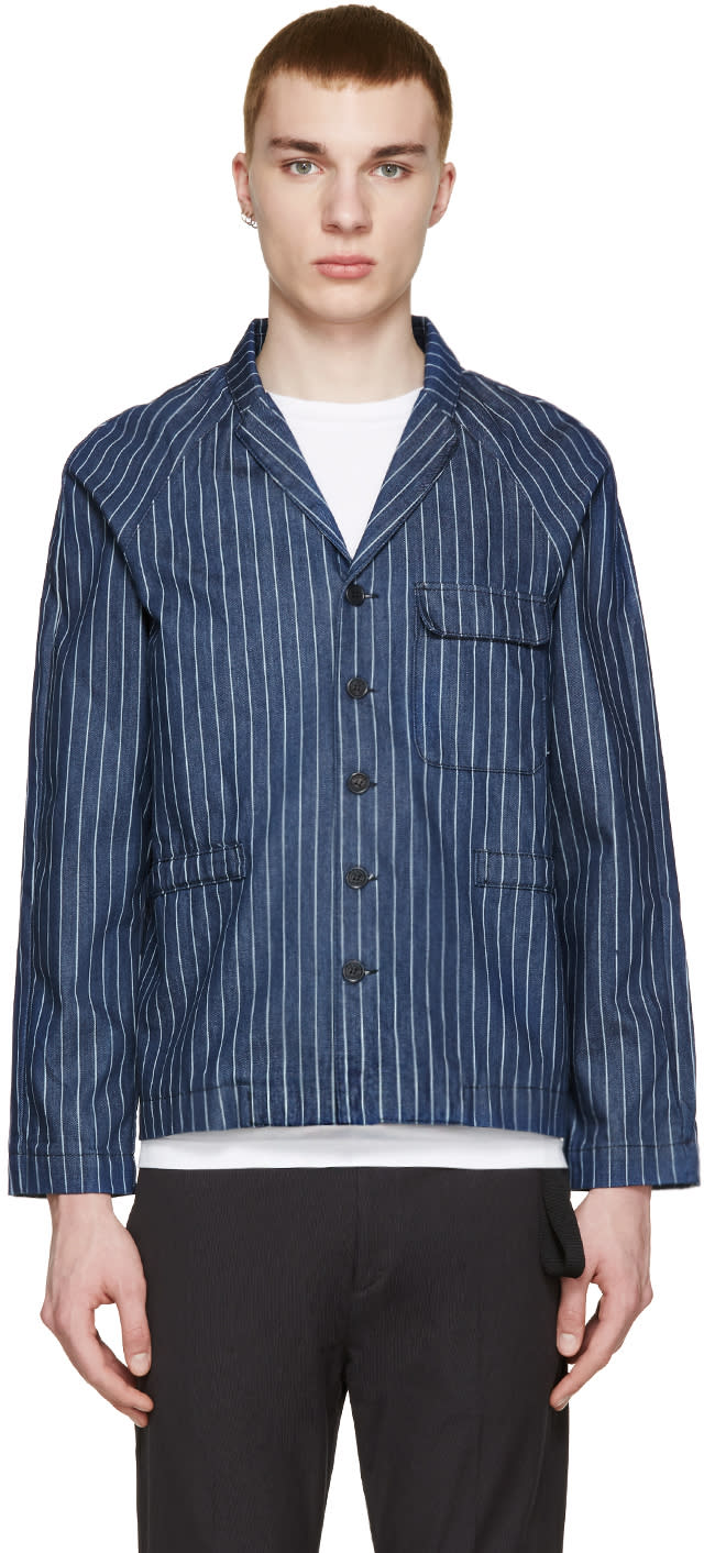 Sunnei Indigo Denim Pinstriped Blazer