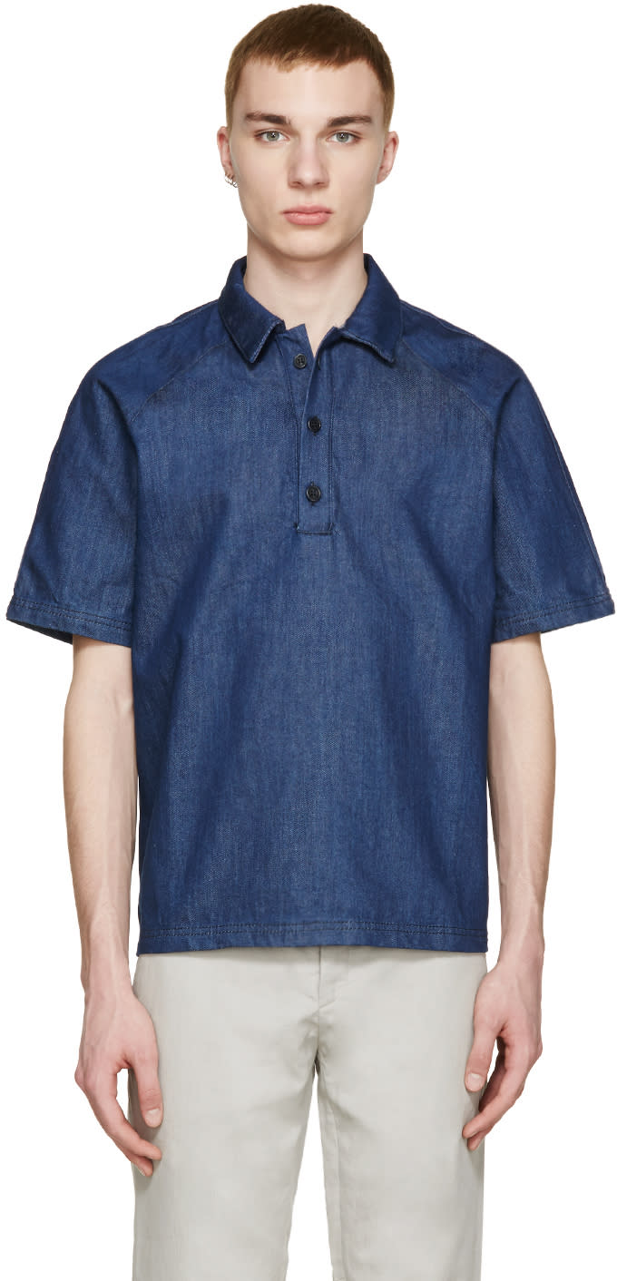 Sunnei Indigo Denim Polo