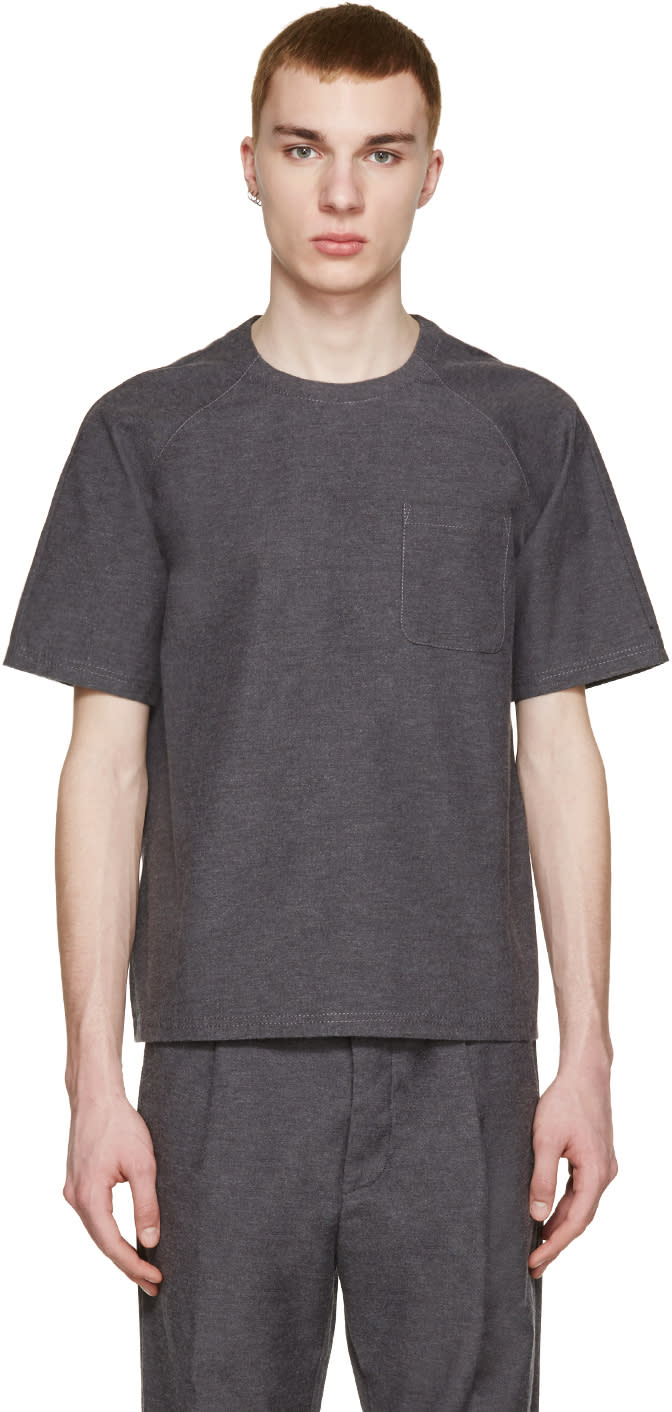 Sunnei Grey Woven Pocket T-shirt