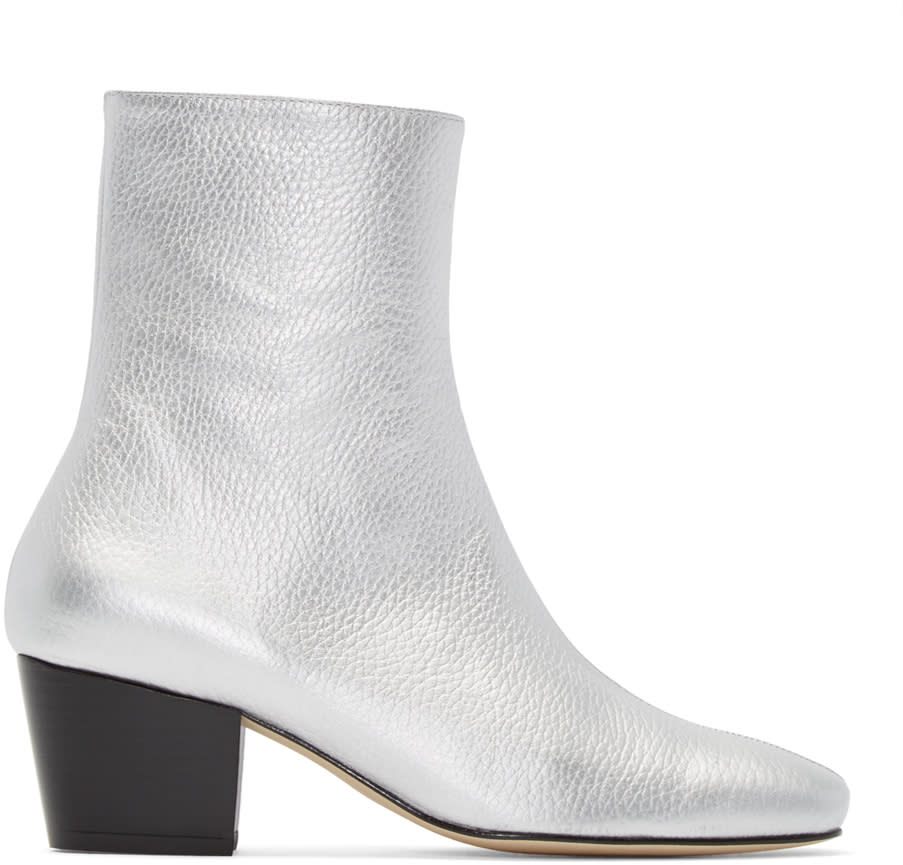 Dorateymur Silver Leather Droop Nose Boots