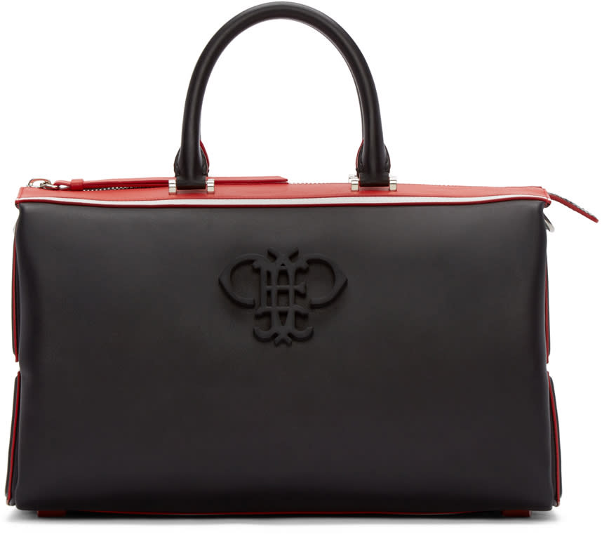 Emilio Pucci Black and Red Leather Logo Bag
