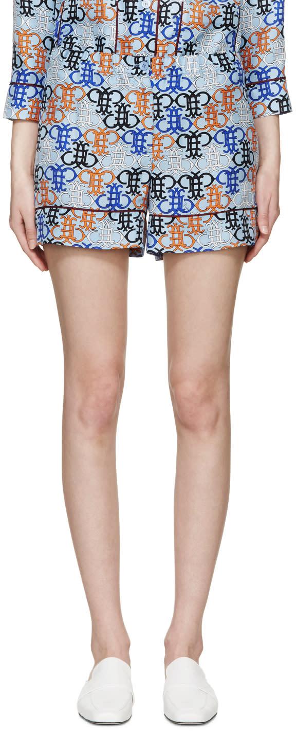 Image of Emilio Pucci Blue Monogram Pyjama Shorts