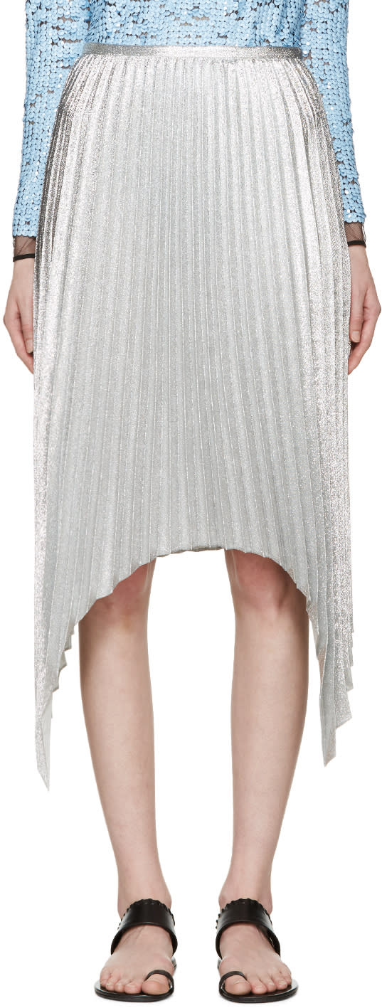Emilio Pucci Silver Pleated Skirt