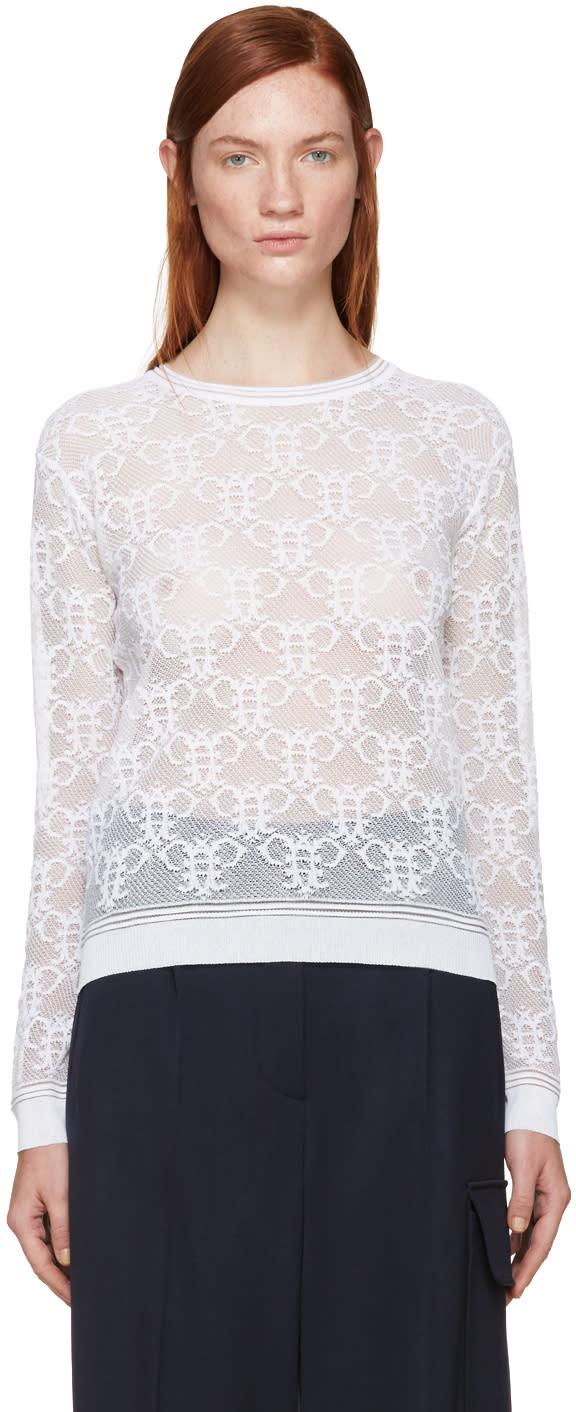 Emilio Pucci White Logo Lace Shirt