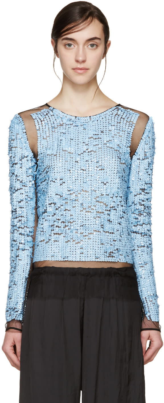 Image of Emilio Pucci Blue Mesh and Sequin Plisse Pullover