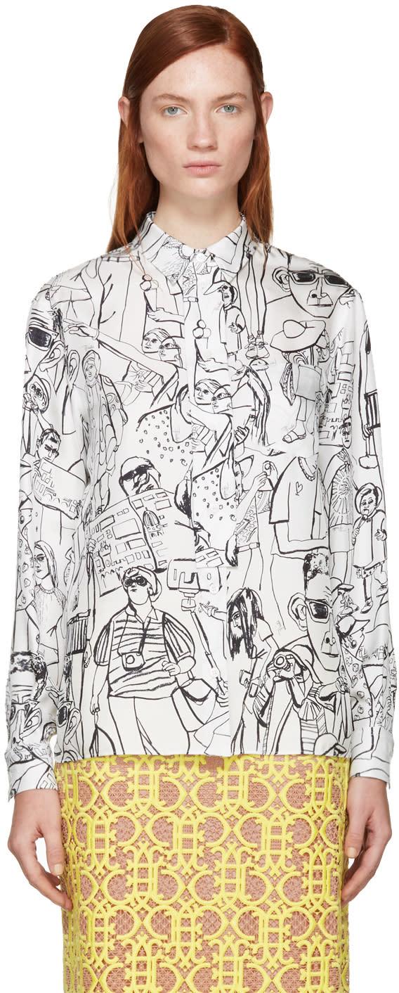 Emilio Pucci White and Black Vintage Print Blouse