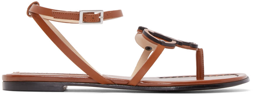 Emilio Pucci Brown Leather Crest Sandals
