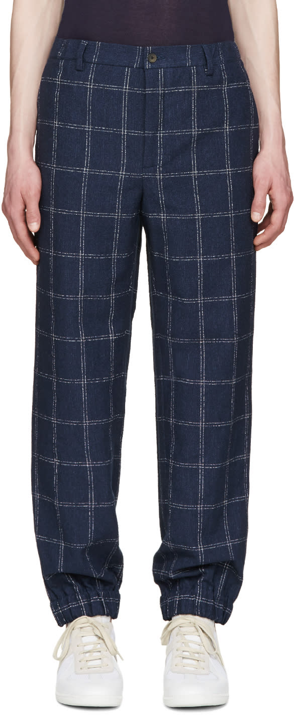 Editions MR Navy Linen Check Trousers