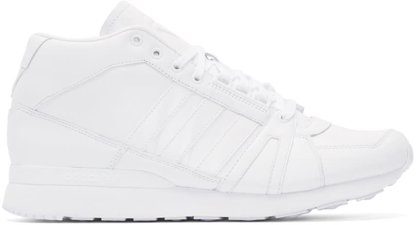 Adidas X White Mountaineering White Leather Zx500hi High-top Sneakers