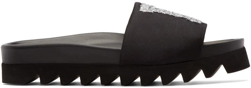 Joshua Sanders Black Glitter La Slide Sandals