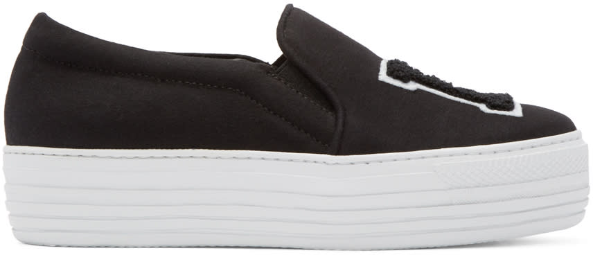 Joshua Sanders Black la Platform Slip-on Sneakers