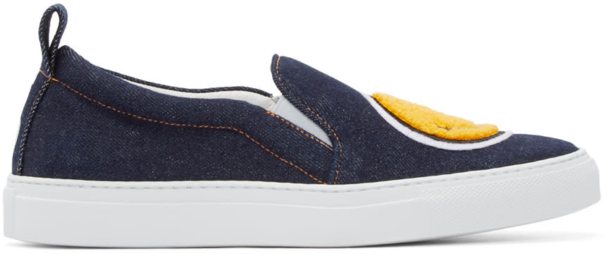 Joshua Sanders Blue Denim Smile Low-top Sneakers