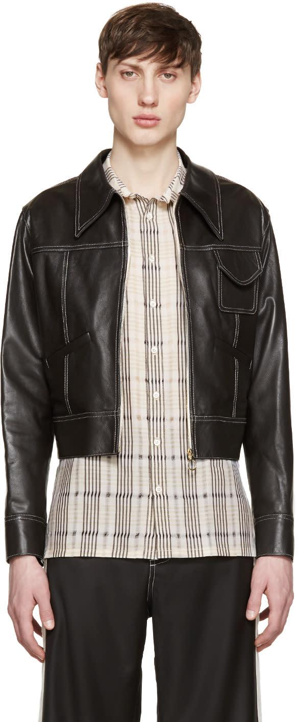 Wales Bonner Brown Leather Baldwin Jacket