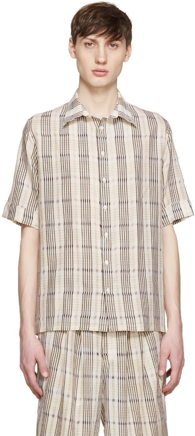 Wales Bonner Beige Wool Check Dakar Shirt