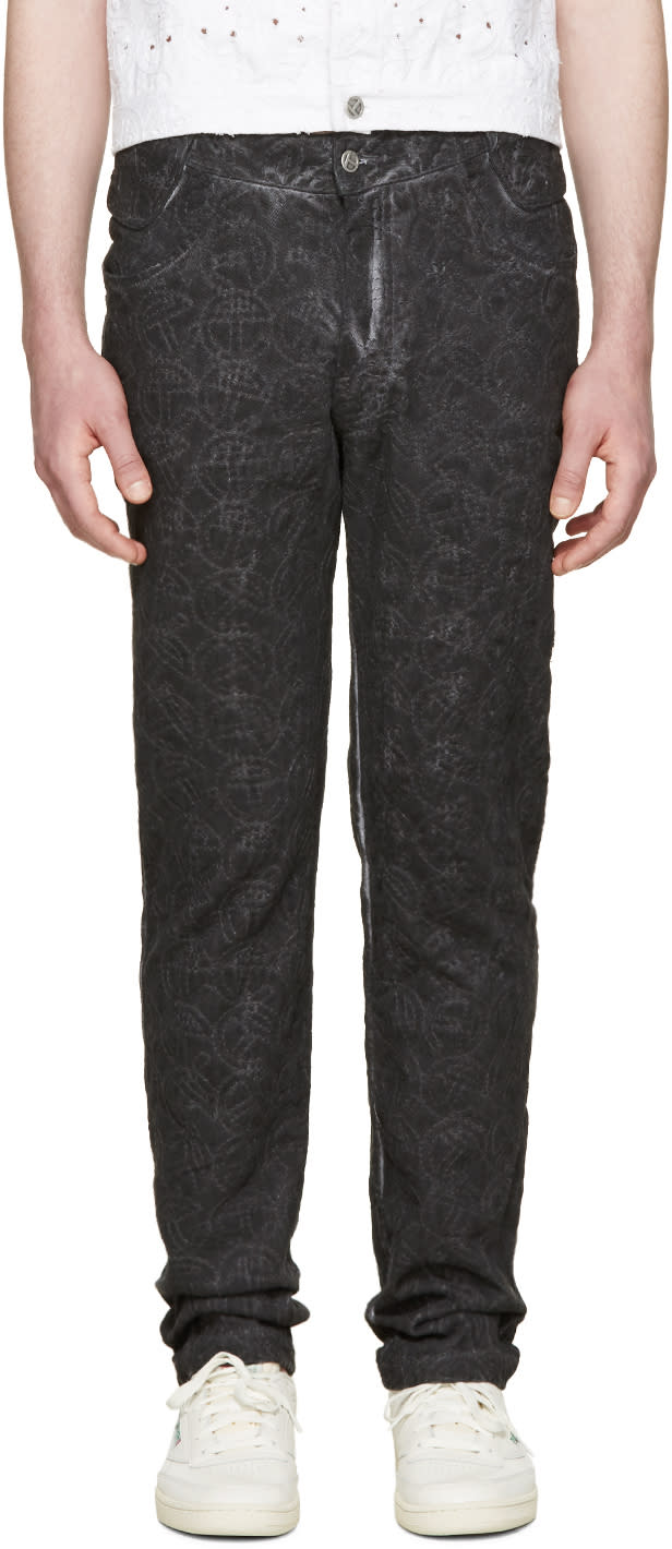 Image of Telfar Black Embroidered Simplex Jeans
