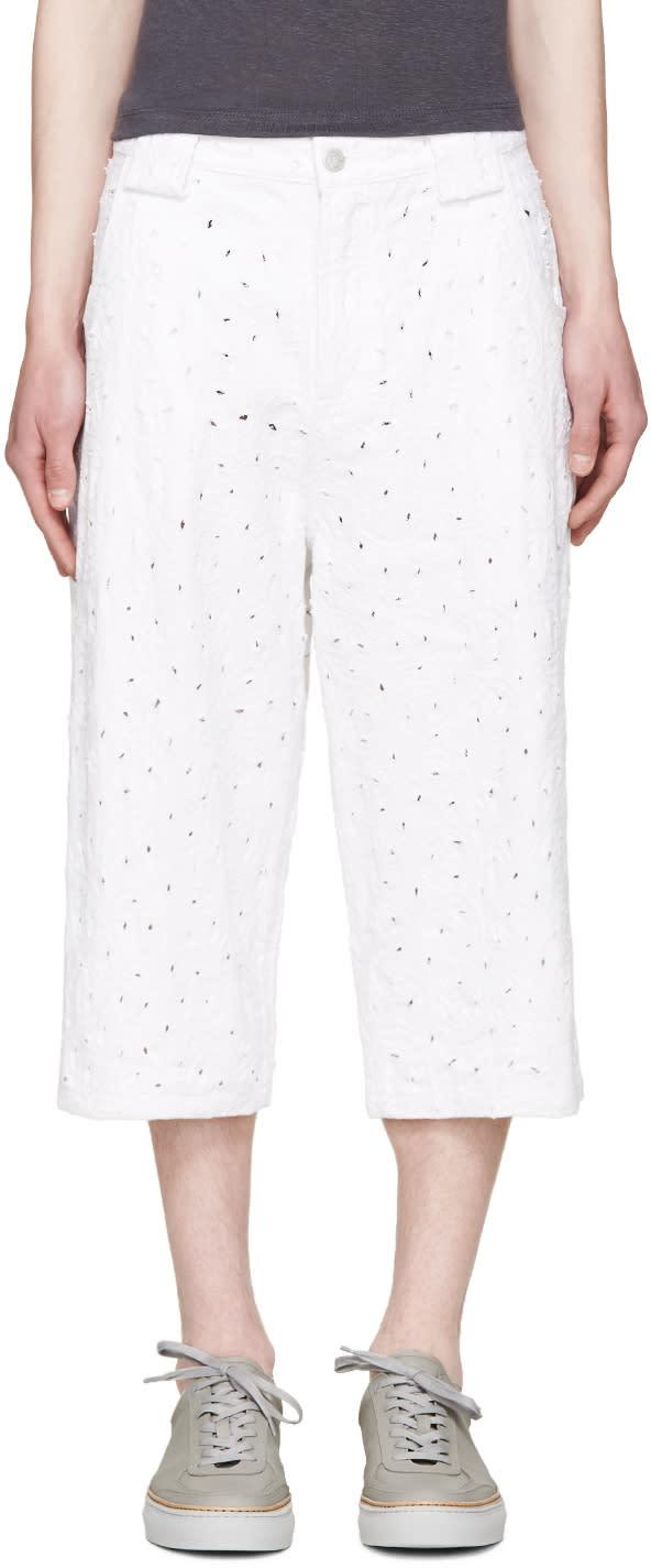 Telfar White Distressed Denim Shorts
