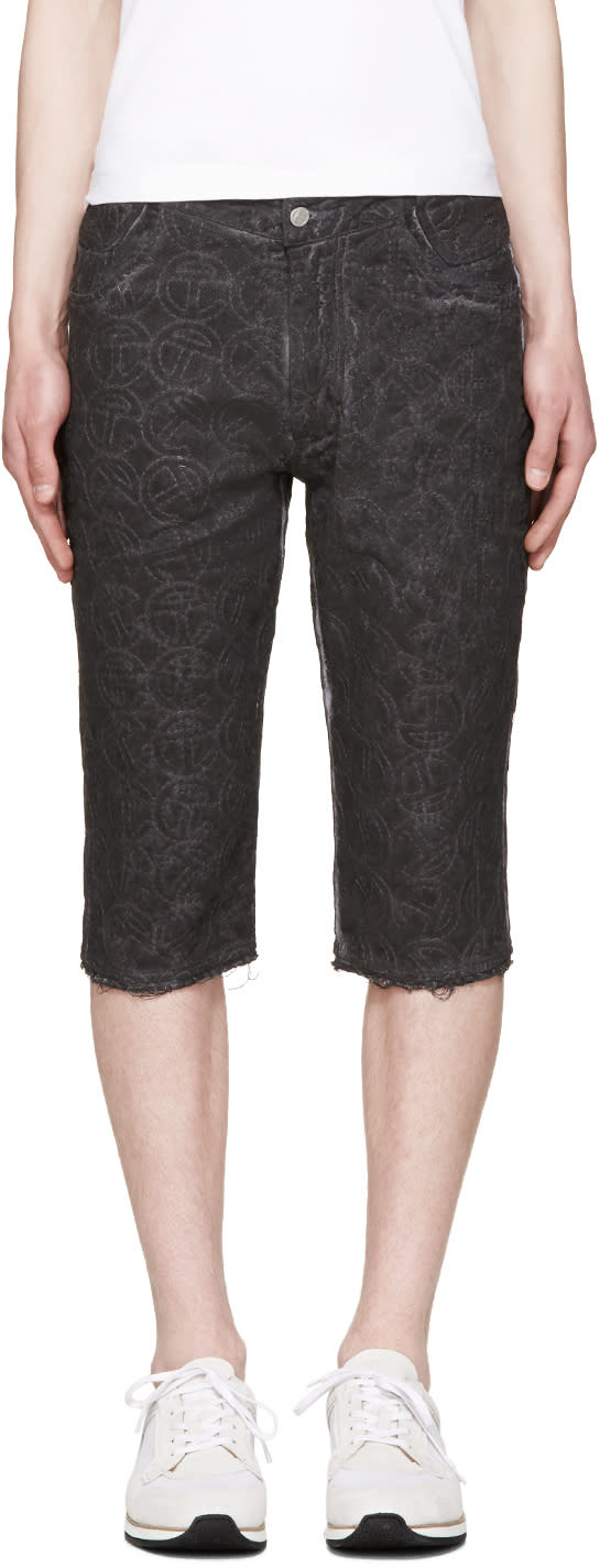 Image of Telfar Black Embroidered Simplex Shorts