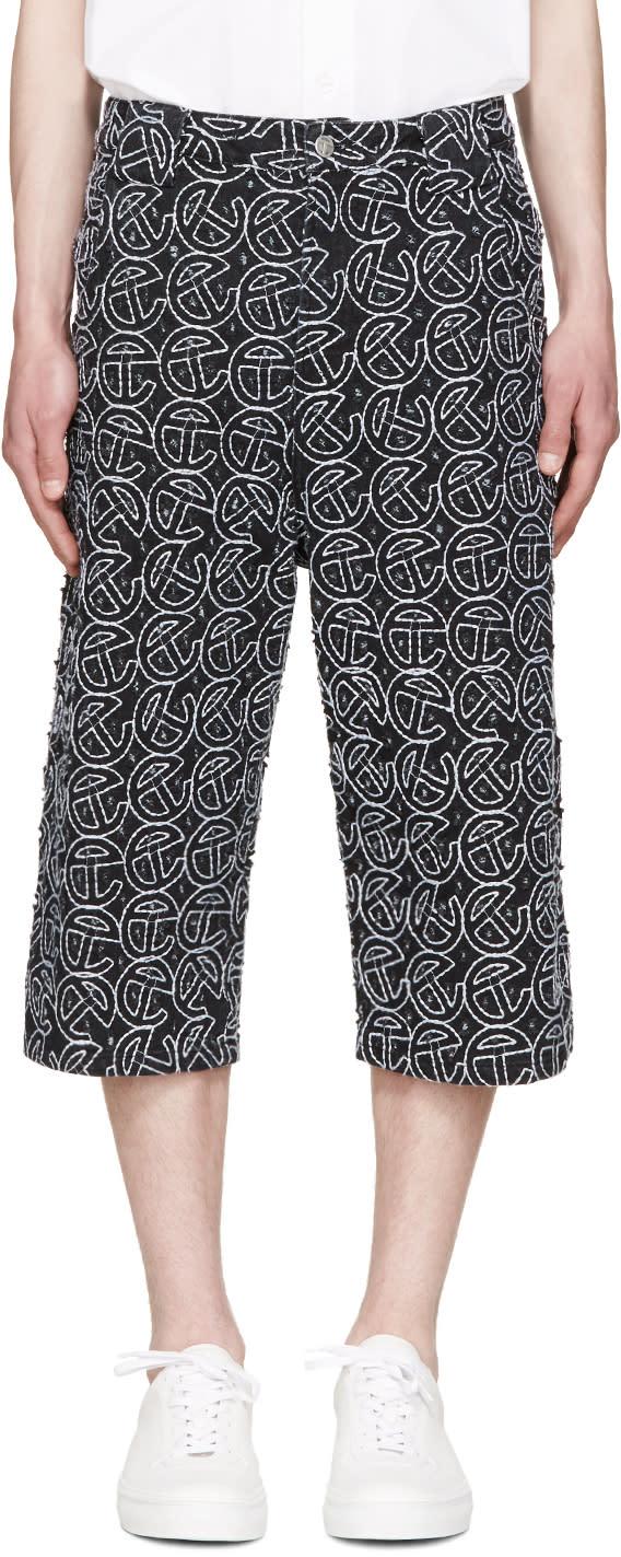 Telfar Ssense Exclusive Black Embroidered Shorts