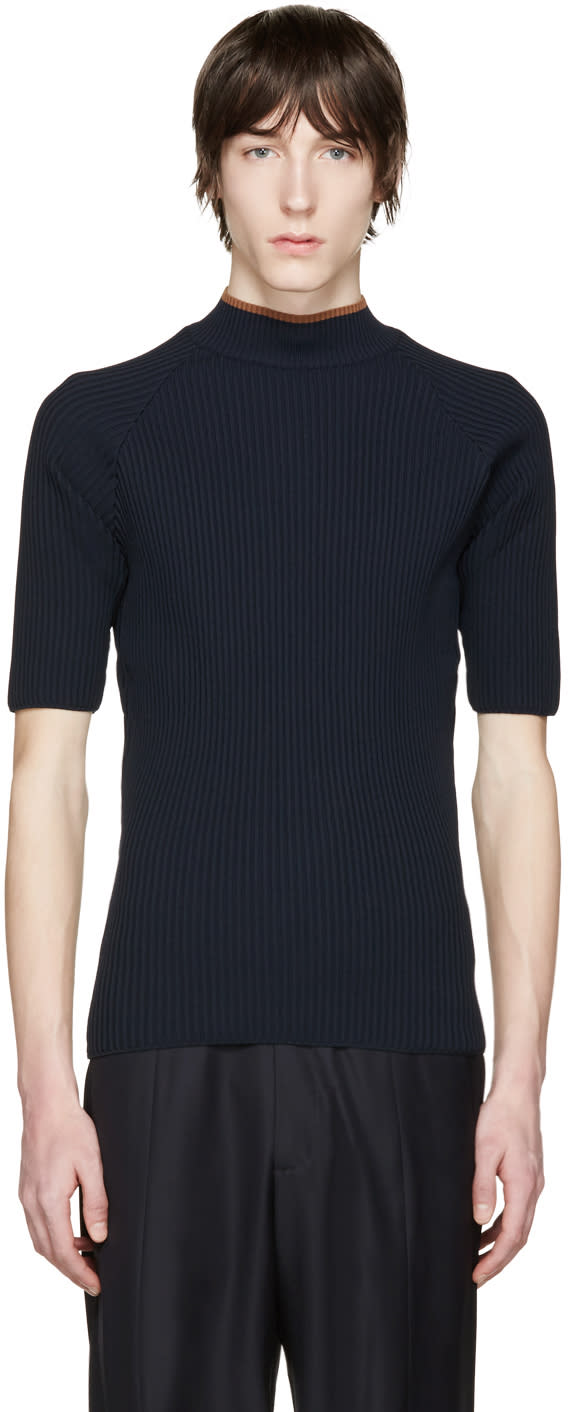 Cmmn Swdn Navy Ribbed Shea Sweater