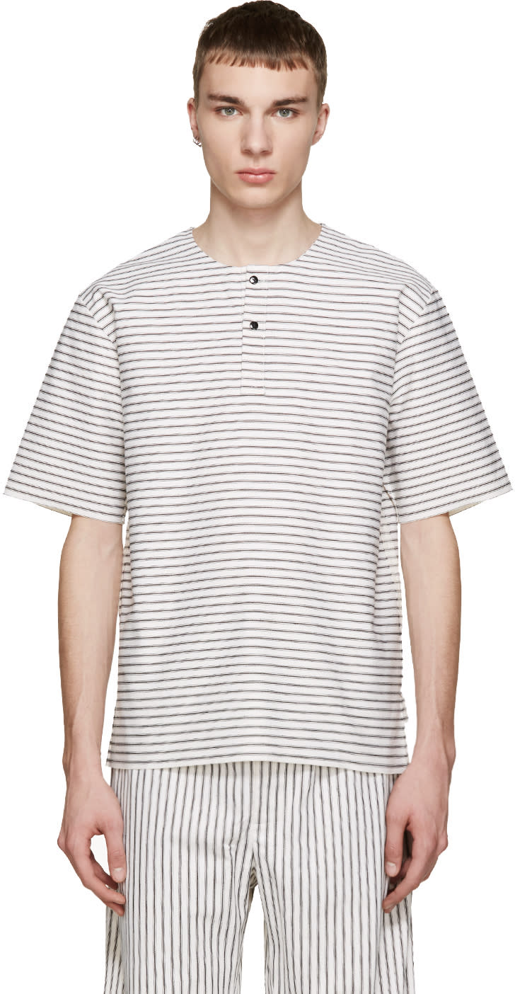 Phoebe English White and Black Striped Henley