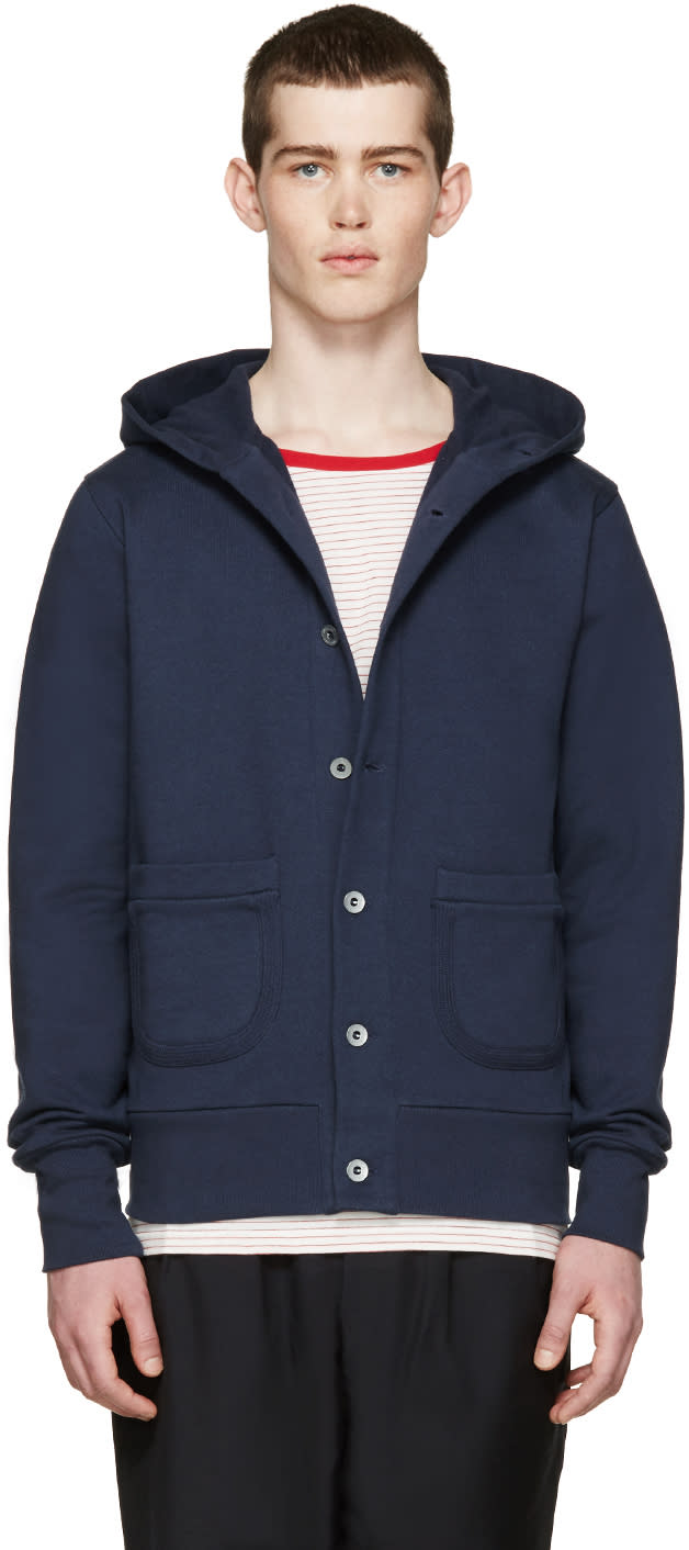 Nigel Cabourn Navy Terry Hooded Cardigan