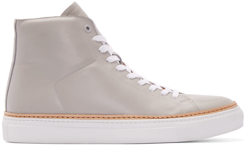 No.288 Grey Leather Mulberry High-top Sneakers