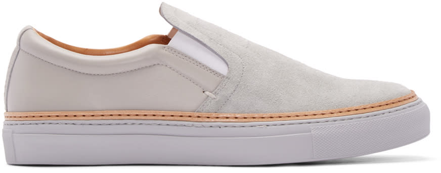 No.288 Grey Suede and Leather Houston Slip-on Sneakers