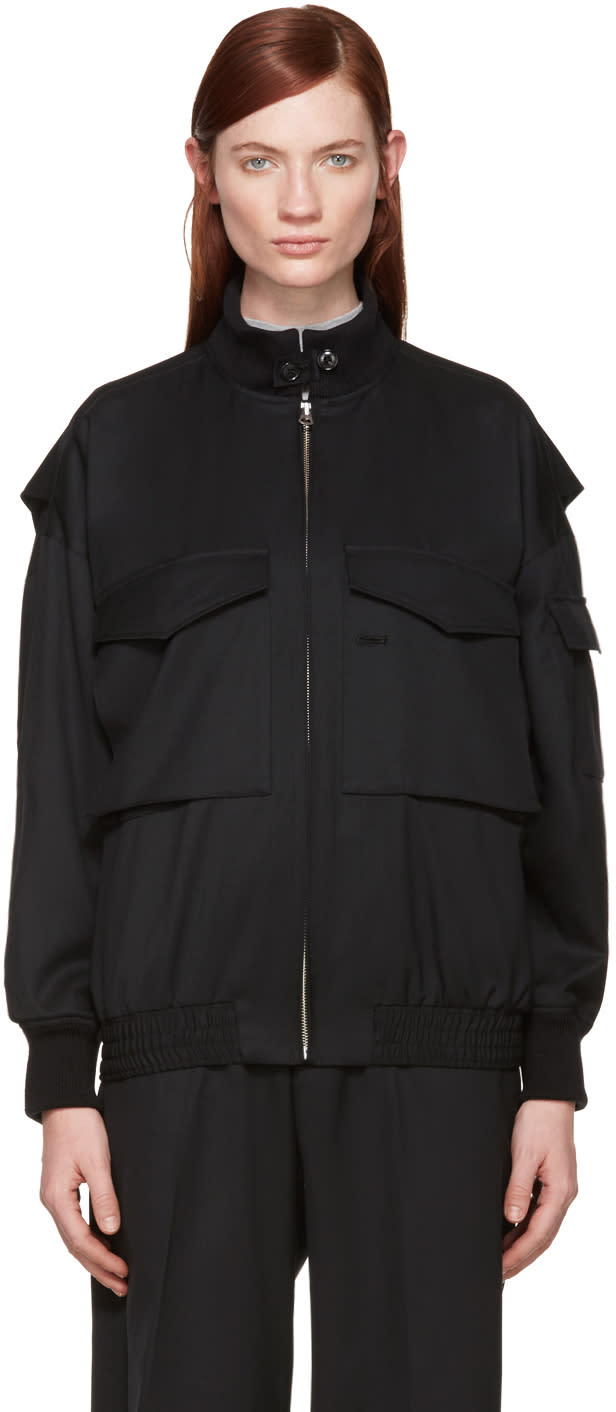Hyke Black Wool Bomber Jacket