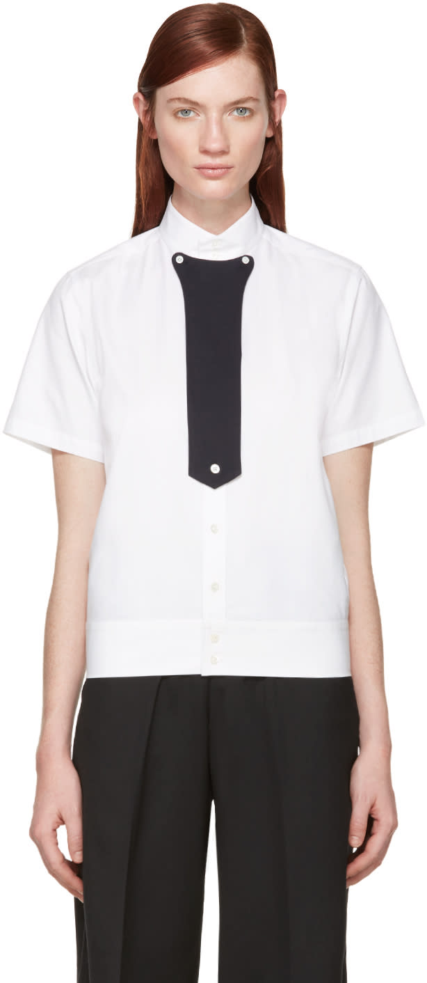 Hyke White Stand Collar Shirt