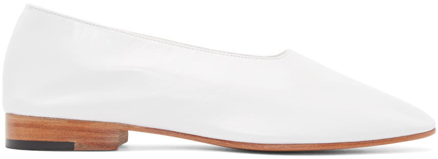 Martiniano White Leather Glove Flats