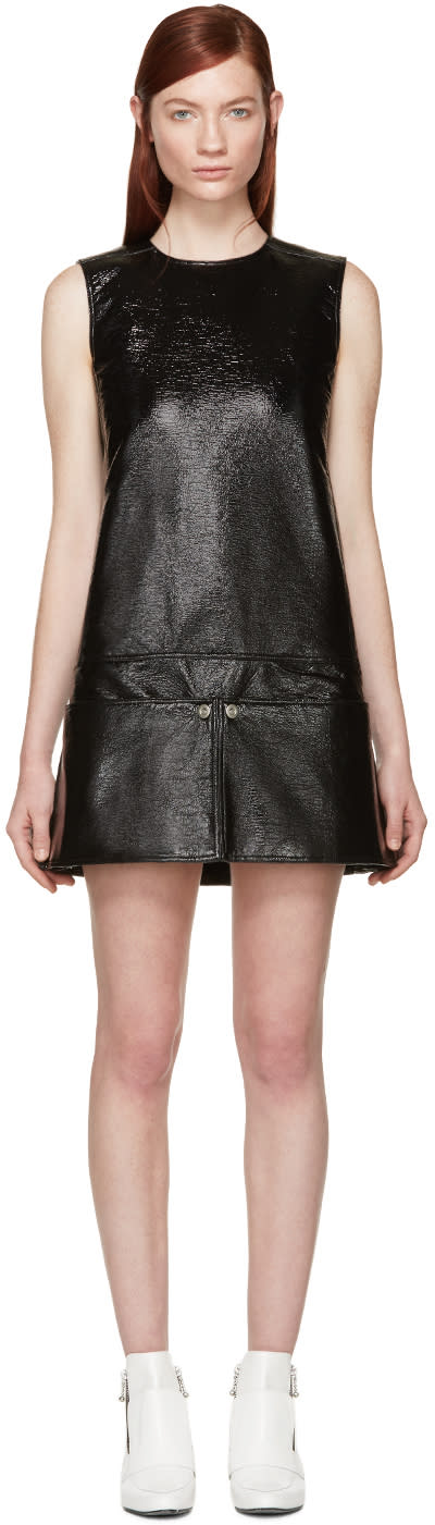 Courreges Black Patent Pocket Dress